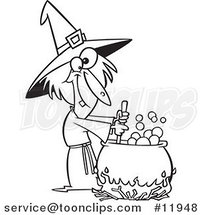 Cartoon Outlined Warted Witch Stirring Her Potion by Ron Leishman