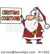 Cartoon Santa Claus Holding a Christmas Countdown Sign by Ron Leishman