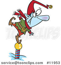 Cartoon Christmas Elf Standing on a Pole and Keeping a Look out by Ron Leishman