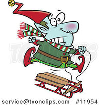Cartoon Christmas Elf Losing Control of a Sled by Ron Leishman
