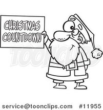 Cartoon Outlined Santa Holding a Christmas Countdown Sign by Ron Leishman