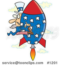 Cartoon Uncle Sam Shooting Upwards on a Rocket by Ron Leishman
