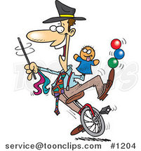 Cartoon Entertainer Doing Tricks on a Unicycle by Ron Leishman