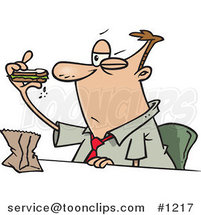 Cartoon Business Man Eating a Boring Sandwich by Ron Leishman