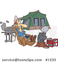 Cartoon Guy Watching Tv Hooked up to a Generator at His Camp Site by Ron Leishman