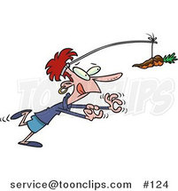 Cartoon Dieting Lady Chasing a Chocolate Covered Carrot on a Stick by Ron Leishman