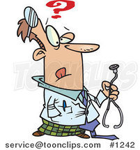 Cartoon Uncertain Doctor Holding a Stethoscope by Toonaday