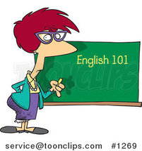 Cartoon English 101 Teacher Standing by a Chalk Board by Ron Leishman