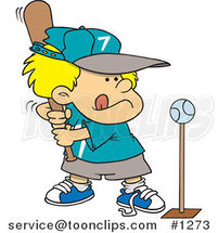 Cartoon Boy Playing Tee Ball by Ron Leishman