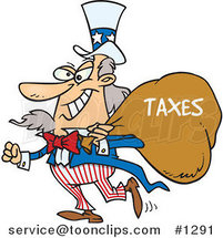 Cartoon Uncle Sam Grinning and Carrying a Money Bag over His Shoulder by Toonaday