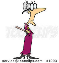 Skinny Old Cartoon Female Teacher Holding a Ruler by Ron Leishman