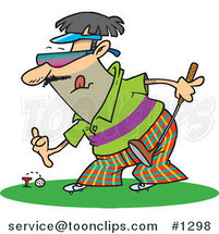 Cartoon Guy Putting a Golf Ball on a Tee by Ron Leishman
