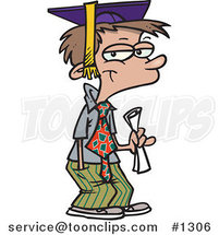 Cartoon Teen Boy Graduate by Ron Leishman