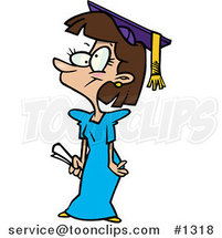 Cartoon Teen Girl Graduate by Ron Leishman