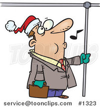 Cartoon Commuting Business Man Whistling and Wearing a Santa Hat by Ron Leishman