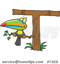 Cartoon Toucan Perched on a T Shaped Tree by Toonaday