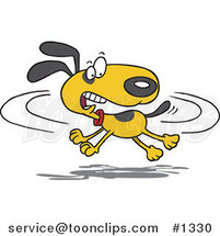Cartoon Dog Chasing His Tail by Ron Leishman