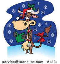 Cartoon Christmas Cow in the Snow by Ron Leishman