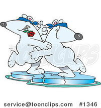 Cartoon Romantic Polar Bear Couple Dancing the Tango on Ice by Ron Leishman