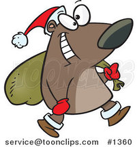 Cartoon Santa Bear Carrying a Sack by Toonaday