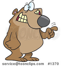 Cartoon Bear Tapping with His Finger by Ron Leishman