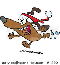Cartoon Christmas Dog Running and Wearing a Santa Hat by Ron Leishman