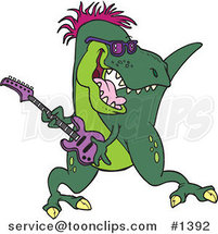 Cartoon T-Rex Playing a Guitar by Toonaday