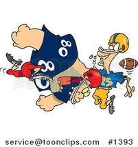 Cartoon Football Player Tackling Another and Knocking out His Teeth by Ron Leishman