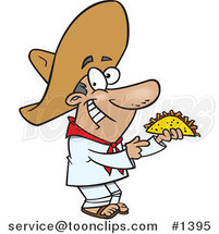 Cartoon Happy Hispanic Guy Holding a Taco by Ron Leishman