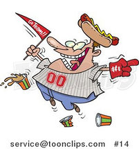 Cartoon Baseball Fan with a Hot Dog Hat, Flag, Hand and Drinks by Ron Leishman