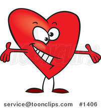 Cartoon Red Surprising Heart with Open Arms by Toonaday
