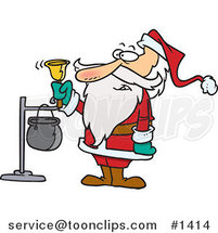Cartoon Santa Ringing a Charity Bell by Ron Leishman