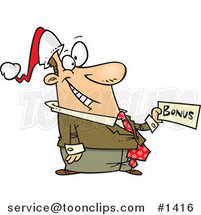 Cartoon Happy Business Man Holding a Christmas Bonus by Ron Leishman