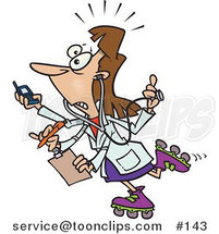 Cartoon Female Doctor with 4 Arms Multi Tasking by Toonaday