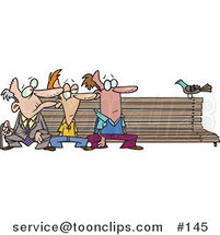 Cartoon Three Men at Different Ages, Sitting on a Bench by a Pigeon by Toonaday