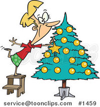 Cartoon Blond Lady Decorating a Christmas Tree by Ron Leishman