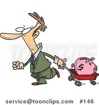 Cartoon Guy Pulling a Piggy Bank in a Wagon by Toonaday