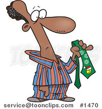 Cartoon Black Guy in His Pajamas, Holding a Christmas Tie by Ron Leishman