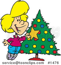 Cartoon White Girl Decorating a Christmas Tree by Ron Leishman