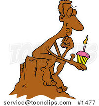 Cartoon Birthday Statue Holding a Cupcake and Thinking of a Wish by Ron Leishman