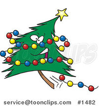 Cartoon Happy Christmas Tree with Colorful Baubles by Ron Leishman