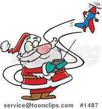 Cartoon Santa Flying a Remote Control Plane by Ron Leishman