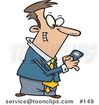 Cartoon Guy Using a BlackBerry Wireless Handheld Device to Send Text Messages by Ron Leishman