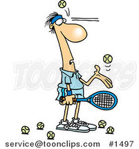 Cartoon Tennis Player Being Hit in the Face with Ball After Ball by Ron Leishman
