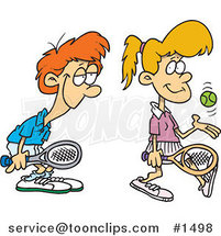 Cartoon Love Struck Boy Following Around a Female Tennis Player by Ron Leishman