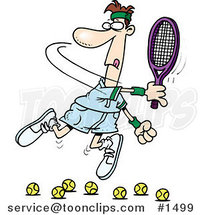 Cartoon Tennis Player Trying to Hit Balls by Ron Leishman