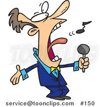 Cartoon Guy in a Blue Suit, Singing the Anthem by Ron Leishman