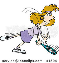 Cartoon Lady Swinging Her Tennis Racket by Ron Leishman