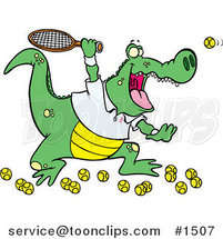 Cartoon Alligator Playing Tennis by Ron Leishman