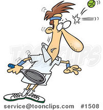 Cartoon Tennis Player Being Smacked on the Forehead with a Ball by Ron Leishman